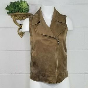 NWOT Massimo Dutti Golden Brown Distressed Moto Zip Front Vest Lined XS